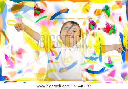 Happy child with thumbs up in colors, space, room