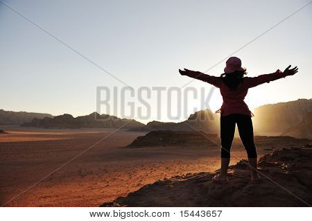 Freedom, girl, desert, sunset, beautiful scene