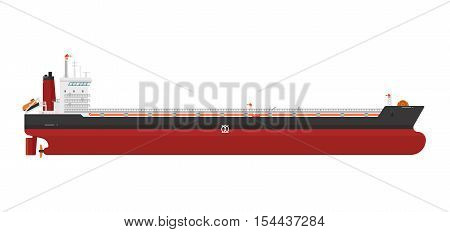 Cargo ship with cranes isolated on white background. Freight tanker or cargo ship side view. Commercial freight ship in flat design. Logistics and transportation vector cargo ship or freight ship.