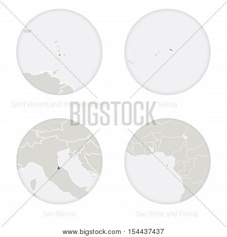 Saint Vincent and the Grenadines, Samoa, San Marino, Sao Tome and Princip map contour and national flag in a circle. Vector Illustration.