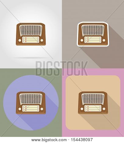 old retro vintage radio flat icons vector illustration isolated on background