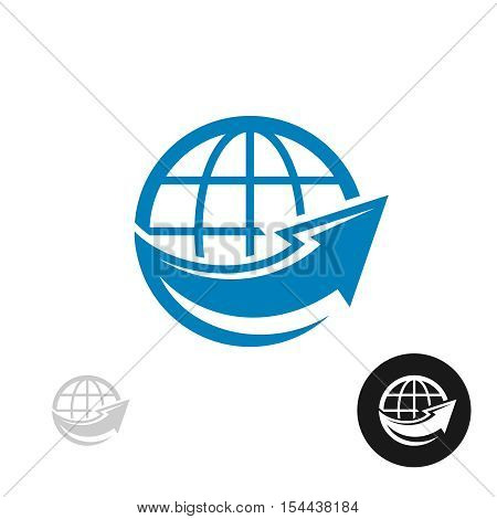 Planet Earth globe simple silhouette icon with big arrow around. Worldwide concept.