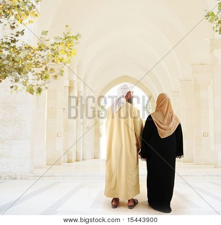 Muslim arabic couple walking together