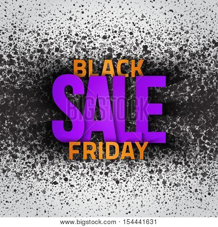 Black friday sale vector grunge background. Illustration for business, marketing, promotion and holiday. Abstract dark gray round ash particles on white background. Spray effect