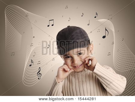Musical boy with denim cap singing, notes on background