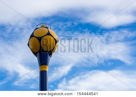 Public  water supply tank  with blue sky background