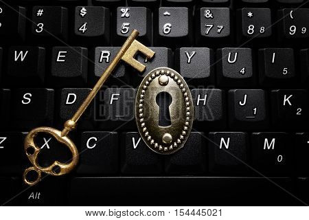Vintage lock on a keyboard with gold key