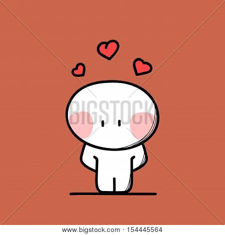 Cute shy funny man in love with hearts above the head on the red background. Valentine's day - cartoon vector illustration.