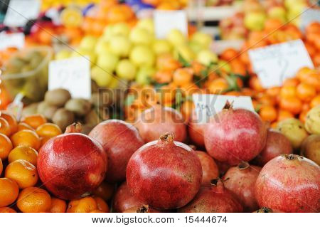 Fruits and vegetables on market place, piazza, bazaar