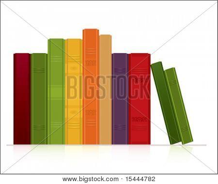 Linha de livros sobre fundo branco