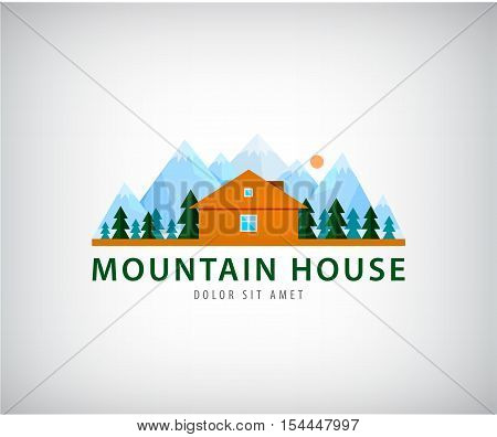 Wooden house flat design vector illustration. Logo for company trademark. House logo at the foot of the mountain, icon for the real estate company