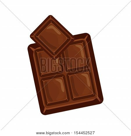 Chocolate bars and pieces vector set. Sweet brown candy chocolate gourmet delicious. Tasty ingredient sugar chocolate dessert food candy cocoa isolated. Chocolate dessert bar milk black eat design.