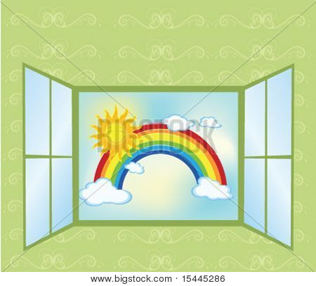 rainbow with sun and clouds through an open window