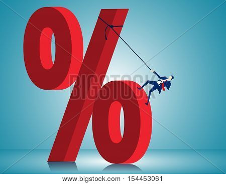 Man Scale Very Large Percentage Sign. Concept Business Illustration. Vector Flat