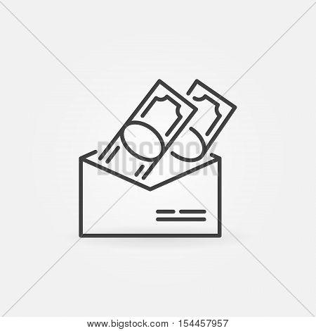 Salary in envelope icon. Vector dollar bills in envelope minimal icon. Corruption concept symbol in thin line style