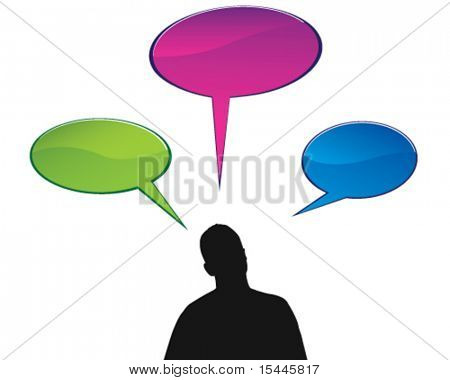 silhouette person with speech bubbles
