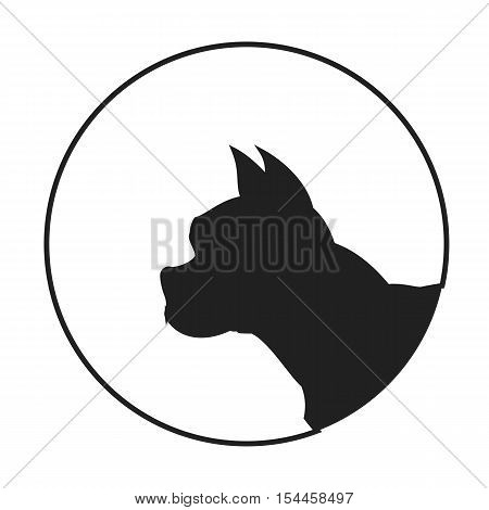Silhouette of a dog head french bulldog. Pet pedigree monochrome. Vector illustration