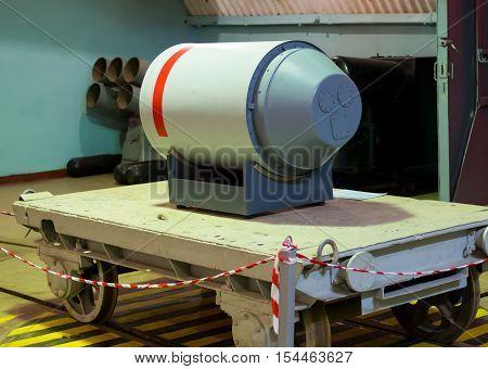 Balaklava, Russia - November 14, 2015: Layout nuclear warhead torpedoes on object 820 RTB: local area nuclear arsenal an underground museum complex Balaklava Crimea...