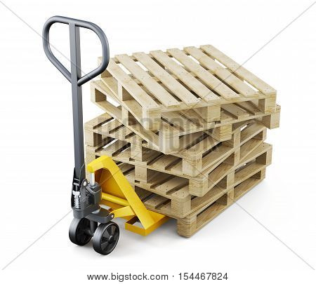 Forklift And Pallets Isolated On White Background. 3D Rendering