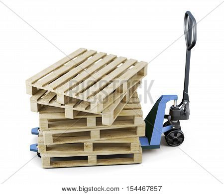 Pallets On A Forklift Isolated On White Background. 3D Rendering