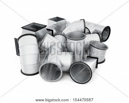Stainless Duct Fittings Isolated On A White Background. 3D Rendering