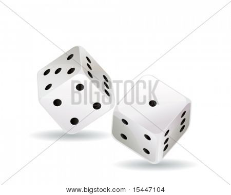 two dice, isolated on white background