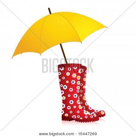l rain boots with yellow umbrella