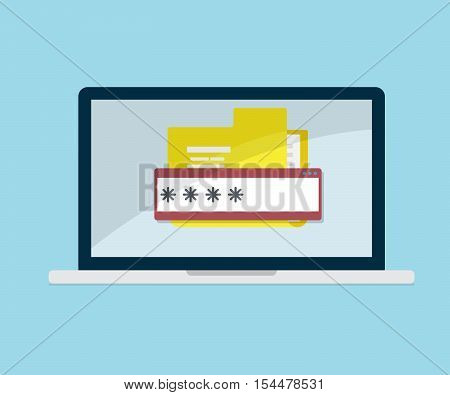 document folder on laptop locked with password data security flat design vector illustration