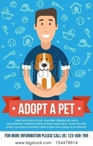 Vector template for pet adoption poster. Happy man is hugging an adopted dog. Flat style.