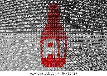 AI in the form of a beer bottle binary code 3D illustration