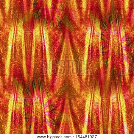 Abstract glittering background with wrinkled velvet curtain. Red, orange,yellow and gold glowing folded background resembling drapery with stars