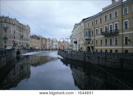 River In Center Of Saint-Petersburg