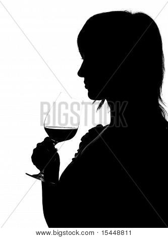 Silhouette Of Woman Smelling Red Wine