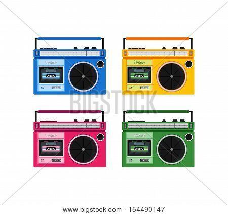 Retro colorful radio icons set. Modern flat design elements. Vintage isolated vintage object. Vector illustration.