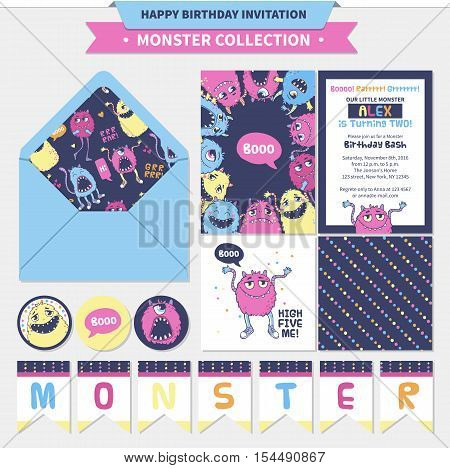 Monster collection. Vector birthday set for kids with invitations, cards, sticker and banners.