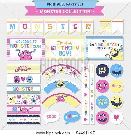 Monster collection. Vector printable party set for kids with cards, stickers and banners.