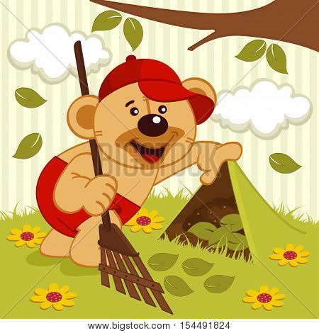 teddy bear sweeps lawn -  vector illustration, eps