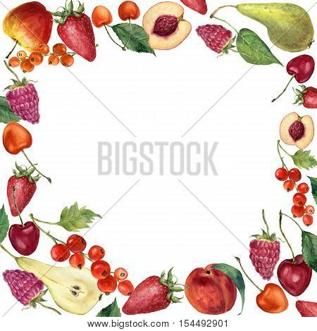 Watercolor summer fruit and berries frame card. Hand painted border with fruit, berries and leaves isolated on white background. Botanical design.