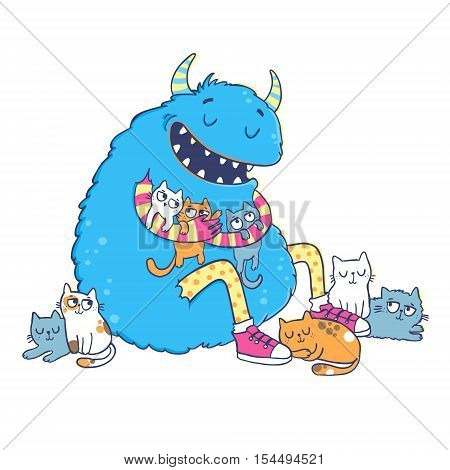 Cute cartoon monster. Vector illustration isolated on white background.