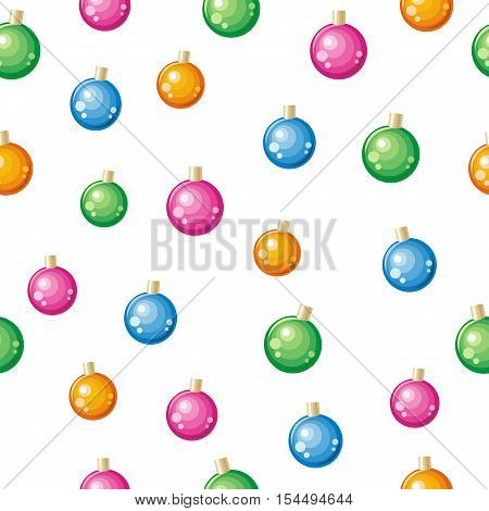 Christmas toys vector seamless pattern. Multicolor balls to decorate Christmas tree on winter holidays on white background. Flat design. For gift wrapping, greeting cards, invitations printings design