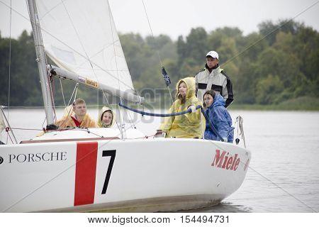 Kyiv Ukraine - August 12 2016:Sailing school in Kiyv Ukraine - August 2016 - Young people learning to sail in the harbor at Dniper river Ukraine before International Regatta Hetman Cup (ISAF Grade 2) run in Ukraine