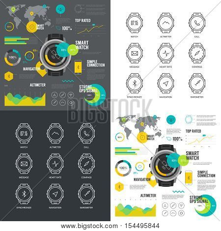 Smart watch infographic illustration. Modern web graphics smart gadget thin line icons.  Simple mono outline smart functions digital clock symbol collection. Chart infographics vector pictogram pack.