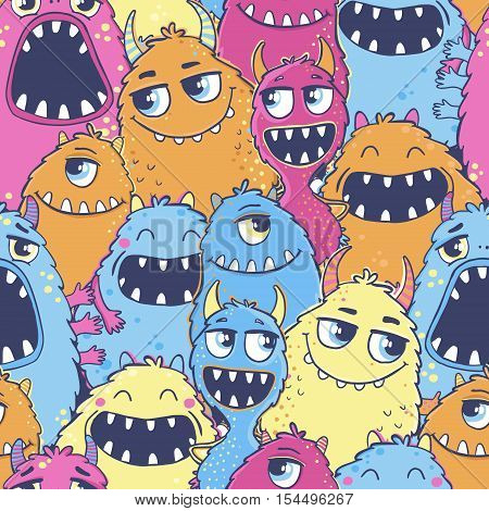 Seamless vector pattern with cute cartoon monsters.