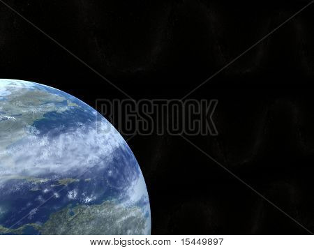 Kind of the Earth and stars from space, on a black background. 3d