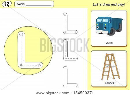 Cartoon Lorry And Ladder. Alphabet Tracing Worksheet: Writing A-z And Educational Game For Kids