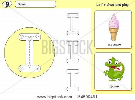 Cartoon Ice Cream And Iguana. Alphabet Tracing Worksheet: Writing A-z And Educational Game For Kids