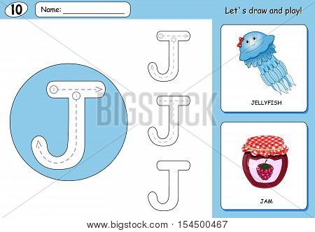 Cartoon Jellyfish And Jam. Alphabet Tracing Worksheet: Writing A-z And Educational Game For Kids