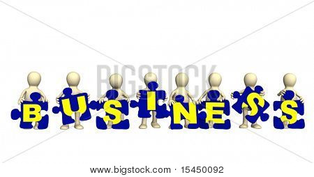 The 3d puppets making of a puzzle a word business. Objects over white