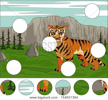 Cartoon Saber-toothed Tiger On The Background Of A Prehistoric Nature. Complete The Puzzle And Find