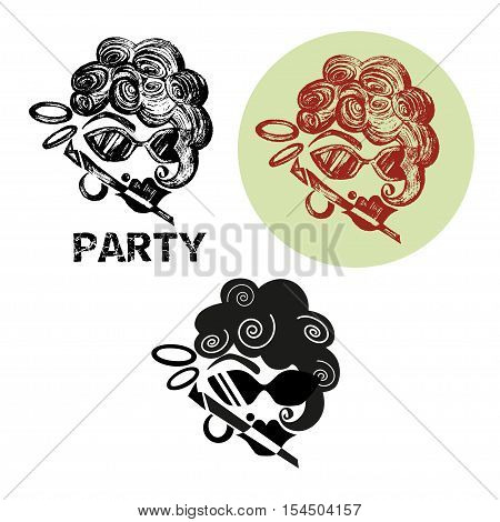 Poster for stag party, Hello Bachelor, black and white logo.